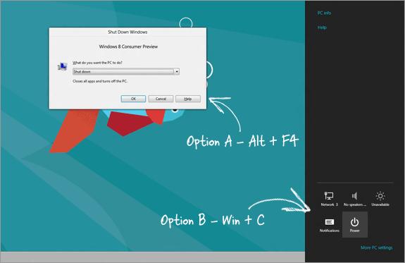 How To ShutDown, Restart or Log Off Windows 8