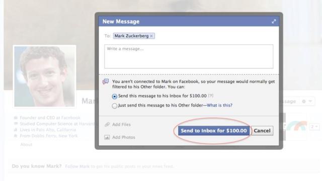 Mark Zuckerberg paid message